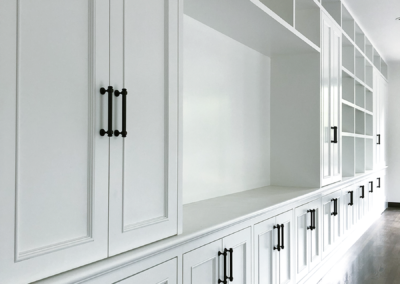 built in shelving and cabinets